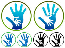 Hands logo. Isolated illustrated hands logo set royalty free illustration