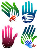 Hands logo set. Isolated illustrated hands logo set Stock Photography