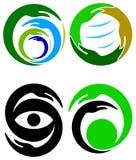 Hands logo set. Isolated line art hands logo set Stock Images