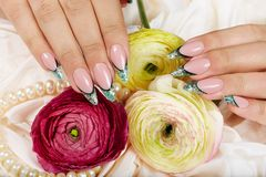 Hands with long artificial french manicured nails decorated with glitter Stock Image