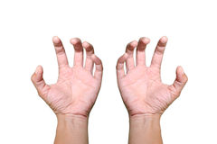 Hands are loosen something on white background. And  isolated white Royalty Free Stock Photography