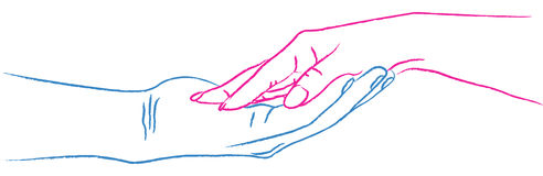 Hands In Love. Against with white background stock illustration
