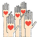 Hands with love Stock Images