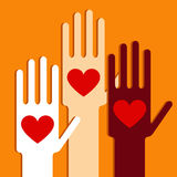 Hands with love. Illustration of hands with love Royalty Free Stock Images