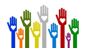 Hands with love. Happy volunteering hands representing love, three-dimensional rendering Royalty Free Stock Photo