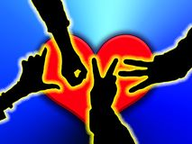 Hands of Love. Love created from posed hands in silhouette over a hear Stock Image