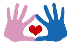 Hands of love. The hand in hand and heart Royalty Free Stock Photo