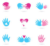 Hands and Love abstract icons collection Royalty Free Stock Photos