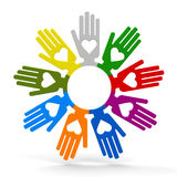 Hands with love in the circle Stock Photos