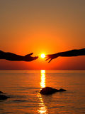 Hands in love in the setting sun Stock Photo