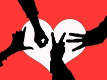 Hands of Love Silhouette. Love created from posed hands in silhouette over a hear Stock Photography