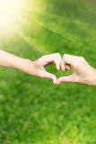 Hands love together of Mom and her daughter. Lawn Royalty Free Stock Photos