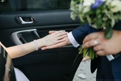 Hands of lovers royalty free stock photography