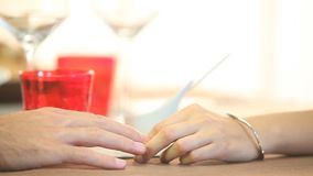 The hands of lovers. Who caress stock footage