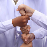Hands lying on top of each other. Teamwork Royalty Free Stock Photo