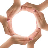 Hands made circle on white background. Woman's hands made circle on white background Stock Photography