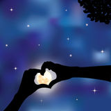 Hands made in the form of heart. Vector illustration Stock Photography