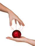 Hands and magic sphere Stock Image