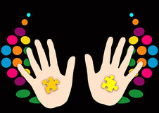 Hands magician. Abstract creative symbolic fantasy image of hands magician Stock Photo