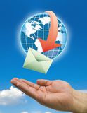 Hands mail delivery clouds Stock Photo