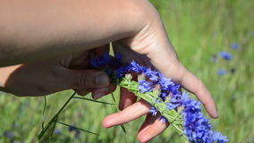 Hands make flower wreath stock video