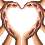 Hands make heart shape stock images