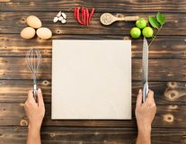 Hands make some food, copy space. Hands make some food, copy space royalty free stock images