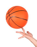 Hands making balancing with a basketball Royalty Free Stock Photo
