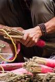 Hands making brushes, Kathmandu, Nepal Royalty Free Stock Photo