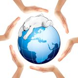 Hands making a circle with Earth and polar bear Royalty Free Stock Photography