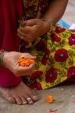 Hands making garlands, Kathmandu, Nepal Stock Photos