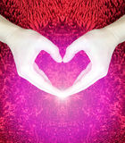 Hands making heart on red fluffy background.Valentine`s day concept.Love concept.peace. Stock Photography