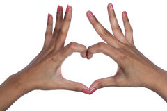 Hands making heart shape Stock Photos