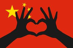 Hands making a heart shape on Republic of China flag Stock Photography