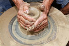 Hands making pottery Royalty Free Stock Photos