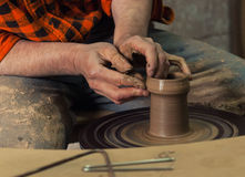 Hands making pottery Royalty Free Stock Photography