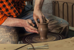 Hands making pottery Royalty Free Stock Photo