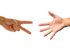 Hands making: Rock, paper, scissors Stock Images