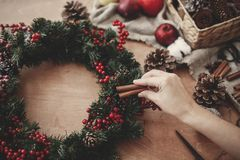 Hands making rustic christmas wreath, holding cinnamon at fir br. Anches, red berries,pine cones,rope, scissors, cotton on rustic wooden background. Atmospheric stock photos