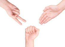 Hands making sign as rock paper and scissors Royalty Free Stock Images