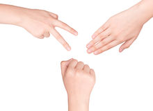 Hands making sign as rock paper and scissors Royalty Free Stock Photography