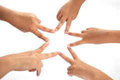 Hands making a star shape Royalty Free Stock Images