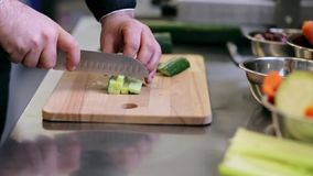 Hands of male cook chopping cucumber in kitchen stock video