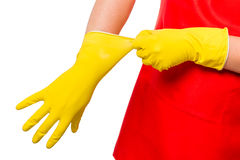 Hands male wearing a rubber glove Stock Image