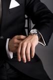 Hands of the man in a black suit Royalty Free Stock Photography