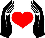 Hands of man and the heart. Human hands, which protect the heart. Vector Royalty Free Stock Photography