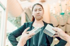 Hands man hold empty gift box and women face angry royalty free stock images