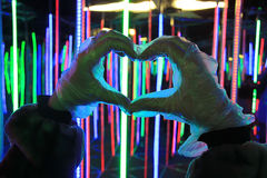 The hands of man. Human hands showing heart, a sign of love Stock Photos
