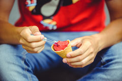 Hands of a man with ice cream Royalty Free Stock Photo