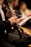 Hands of man playing the clarinet Royalty Free Stock Photography